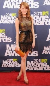 Emma Stone in Bottega Veneta dress