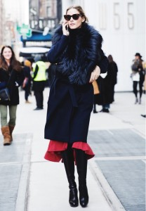 Wear the coat with knee high boots