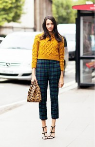 With printed high waist trousers